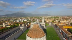 Miracles Square aerial view in Pisa, Tuscany Stock Footage