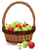 Basket of Red and Green Apples - stock illustration