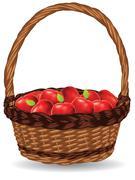 Basket of Red Apples - stock illustration