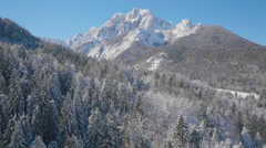 4K Aerial: Reveal of a Winter Mountain in the Sun Stock Footage
