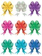 Holiday Bows Set - stock illustration