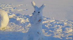 The rabbit look snowman on the ground - stock footage