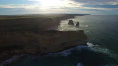 Aerial view of Twelve Apostles at dawn, Victoria Stock Footage
