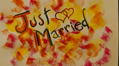 Just Married writing Stock Footage