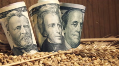 Wheat harvest profit in USA, american dollar banknotes in pile of wheat grains Stock Footage