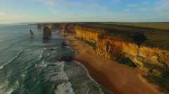 Aerial view of Twelve Apostles at sunset, Victoria - stock footage