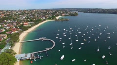Aerial view of Balmoral each near Sydney, NSW Stock Footage