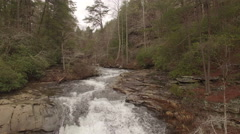 Stock Video Footage of Aerial Winter Tennessee Waterfall Crest 001 Hover Tilt Down