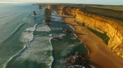 The Twelve Apostles at sunset, Port Campbell Stock Footage
