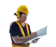 male construction worker with Standard construction safety equipment isolated - stock photo