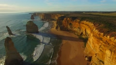 Aerial view of Twelve Apostles at sunset, Victoria Stock Footage