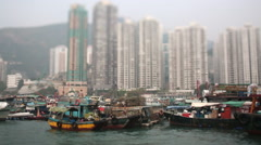Hongkong tilt shift view Stock Footage