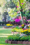Stock Photo of Landscaped flower garden with lots of colorful blooms.