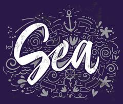 Print for T-shirt Sea. Vector illustration. Hand lettering. - stock illustration