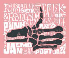 Print for T-shirt. Rock music. Grunge. Vector illustration. - stock illustration