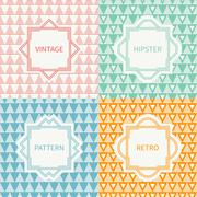 Set of mono line polygon hipster seamless pattern with triangle. Vintage frames - stock illustration
