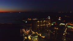 Aerial view of Destin skyline at dusk, Florida Stock Footage