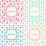 Set of mono line polygon hipster seamless pattern with triangle. Vintage frames Stock Illustration