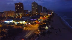 Fort Lauderdale at sunset aerial view, Florida Stock Footage