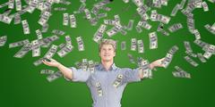 Man Catching Money Falling From the Sky - stock illustration