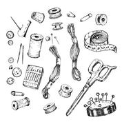 Collection of highly detailed hand drawn sewing and knitting tools. Stock Illustration