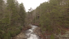 Aerial Winter Tennessee Waterfall Crest to Base 002 Fast Boom Down Stock Footage