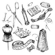 Stock Illustration of Collection of highly detailed hand drawn sewing and knitting tools.