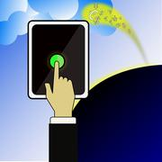 The smart phone can attract the money from the sky. Stock Illustration
