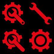 Settings Flat Vector Symbols - stock illustration