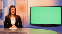 Stock Video Footage of TV presenter happy mood ,Green Screen  background 01