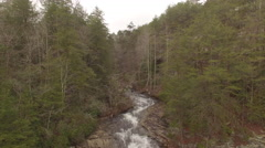 Aerial Winter Tennessee Waterfall Crest to Base 001 Boom Down Stock Footage