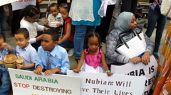 Nubians protest against proposed hydroelectric dams. Stock Footage