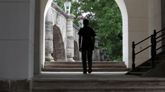 Rear view of man with backpack Stock Footage