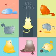 Set of cat family Stock Illustration