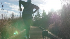 Sun Flare Down Nature Boardwalk with Male Jogger and Boston Terrier Dog Stock Footage
