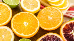 Variety of citrus fruit including lemons, lines, grapefruits and oranges. Stock Footage