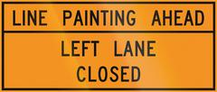 Road sign used in the US state of Virginia - Line painting ahead Stock Illustration