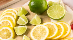 Variety of citrus fruit including lemons and limes. Stock Footage
