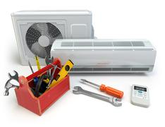 Air conditioner with toolbox and tools. Repair of air-conditioner concept. Piirros