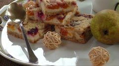 Homemade seasonal fruity pie with crumble - stock footage