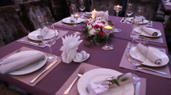 Luxury festive table laid for an important event wedding or presentation Stock Footage