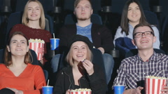 Six friends came to watch comedy Stock Footage
