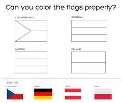 Coloring book task - European flags with solution Stock Illustration