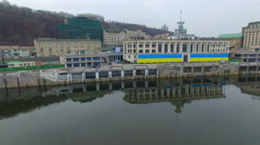 Overhead view of the river station in Kiev - stock footage