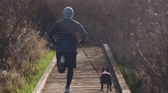 Young Man and Boston Terrier Dog Jogging Down Nature Boardwalk Stock Footage