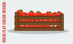 Juicy Tomato. Fresh vegetables in wooden crate. Flat style vector Stock Illustration