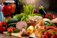 Composition with variety of organic food products Stock Photos