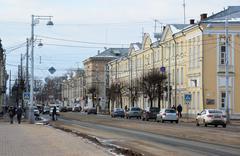 Tver, Russia - February 27. 2016.  Sovetskaya Street, one of  central streets - stock photo