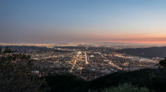 Los Angeles and Glendale California Night Hilltop Time Lapse Stock Footage