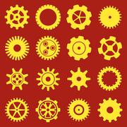 Gears and cogs. Icons set in vector Piirros